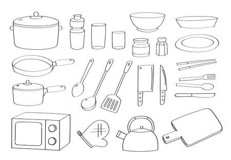 Cute doodle kitchenware cartoon icons and objects. kitchen appliances.
