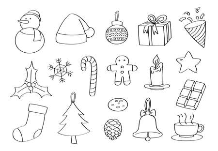 Doodle Christmas objects. Hand drew vector.
