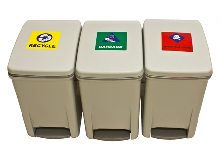 infect: garbage, recycle, infect waste bins. white background