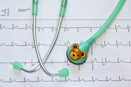 stethoscope for Child and electrocardiogram