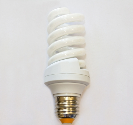 light bulb in a spiral pattern on a white background