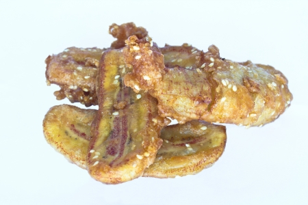 fried banana traditional food from asia on white background   Archivio Fotografico