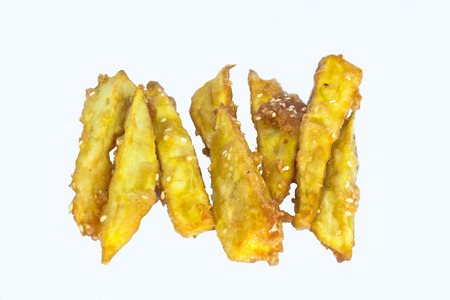 Potato, french fries on white background