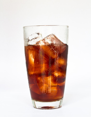 glass of cola white background