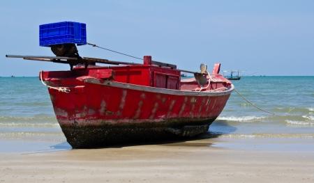 Thai fishing boat at the huahin in Thailand   Archivio Fotografico