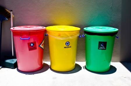 infect: garbage, recycle, infect waste bins  Stock Photo