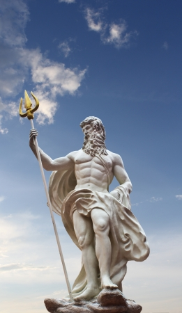 greek gods: Detail of the statue of Poseidon on isolated sky background at venezia hua hin Thailand  Stock Photo