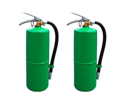 Two Fire extinguisher green on a White background   photo