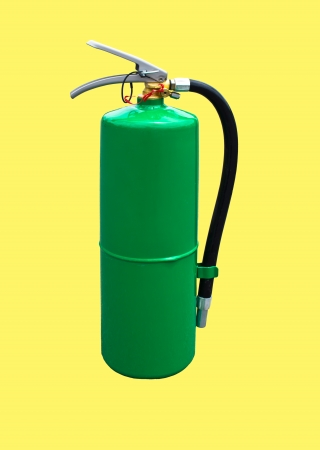 flammable materials: Fire extinguisher green on a yellow background