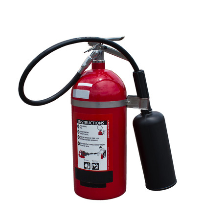 fire extinguishers: Fire extinguishers carbon dioxide on white background Stock Photo