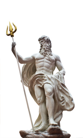 Detail of the statue of Poseidonon on isolated white background at venezia hua hin Thailand