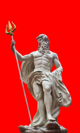 Detail of the statue of Poseidonon on isolated red background at venezia hua hin Thailand
