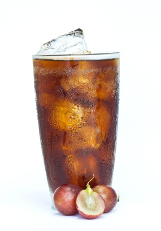 soft drink with fresh grapes on white background