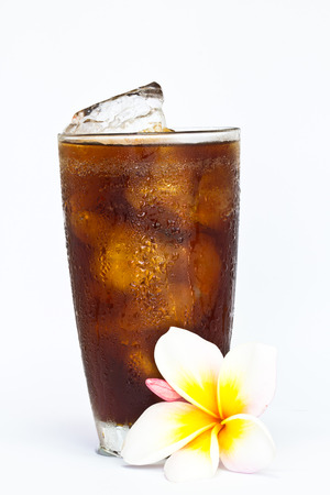 soft drink with flower on white background   Archivio Fotografico