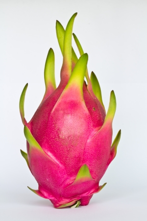 the red dragon: Dragon fruit isolated on white background