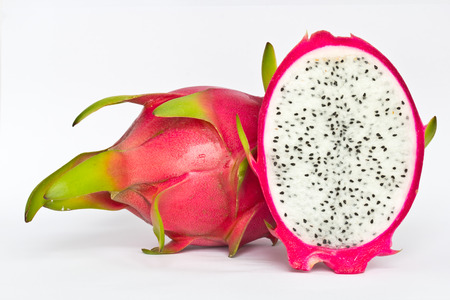 Vivid and Vibrant Dragon Fruit isolated against white background  photo