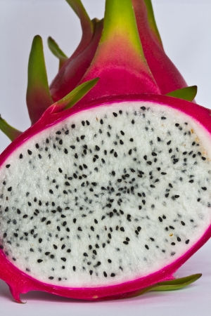Vivid and Vibrant Dragon Fruit isolated against white background   Archivio Fotografico