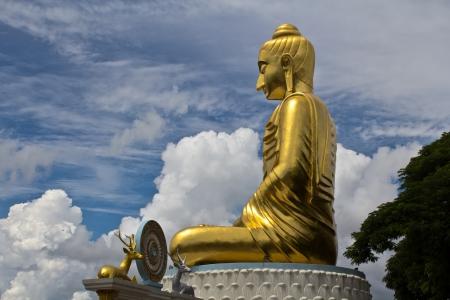 Big Buddha statue and Blue Sky at Prachuap Khiri Khan Thailand   Archivio Fotografico