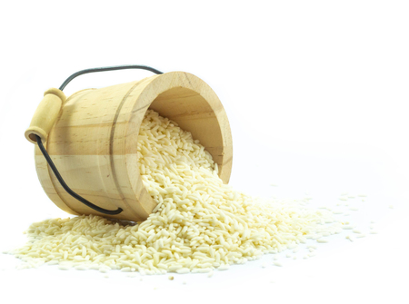 Sticky rice in wooden isolated onwhite background
