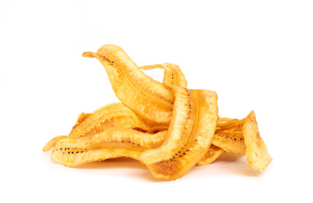 sweet banana crisps so delicious on white background.