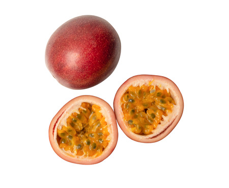 Passion fruit isolated on white background. Stok Fotoğraf