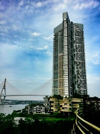Building beside bridge Stock Photo
