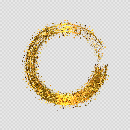 Vector  shiny golden glitter round decorative frame design isolated on transparent background