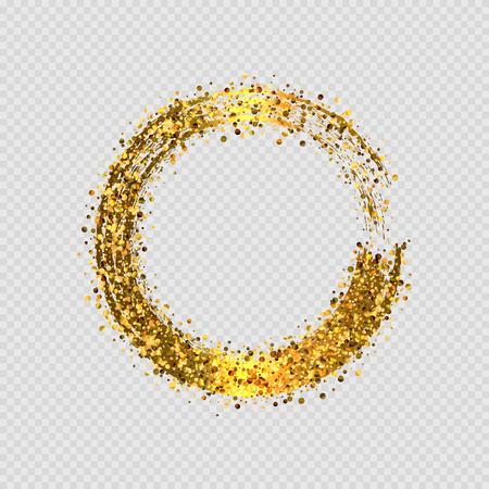 Vektor glänzender goldener Glitzer runder dekorativer Rahmenentwurf lokalisiert auf transparentem Hintergrund