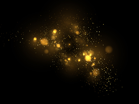 Vector eps 10 golden particles. Glowing yellow bokeh circles abstract gold luxury background Ilustração Vetorial