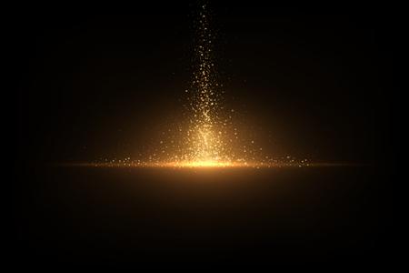 Eps 10 funkelnder goldener Glitzer auf Schwarz. Abstrakter Luxushintergrund Vektorgrafik