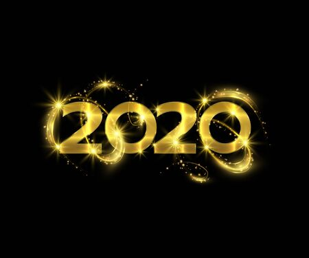 New year 2020 sparkling golden numbers on black background Иллюстрация