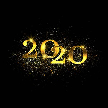 2020 Sparkling golden numbers, glitter dust, shiny particles. Festive new year background