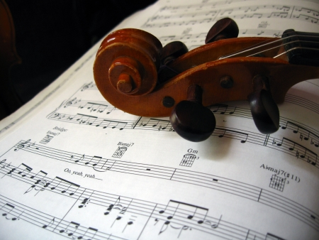 Violin on a music paper photo