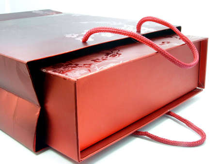 dearest: RED GIFT BAG Stock Photo