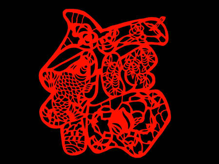 kirigami: Chinese character for Luck and Prosperity