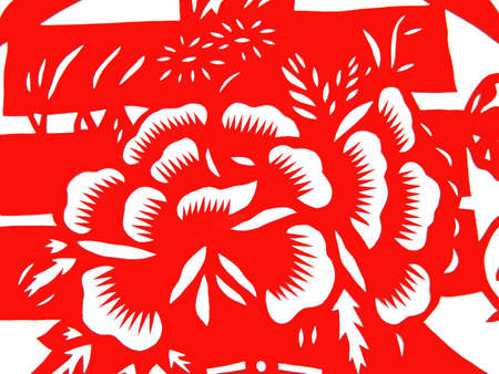 kirigami: Traditional paper cut  Flower Stock Photo