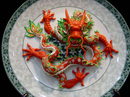 Chinese dragon in porcelain dish background Stock Photo - 1118685