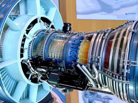 aerospace industry: The engine of airplane                                Stock Photo