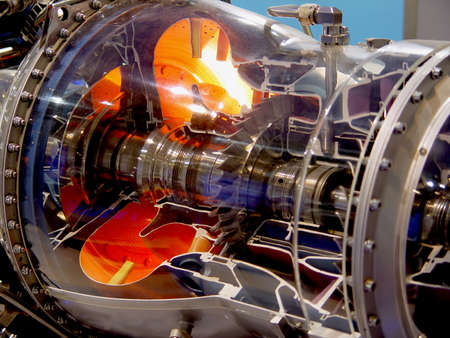 chamber of the engine: The engine of airplane                                Stock Photo