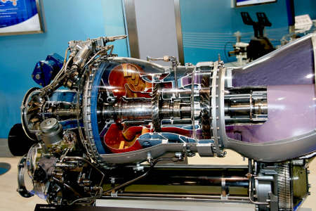 fuel chamber: The engine of airplane Stock Photo