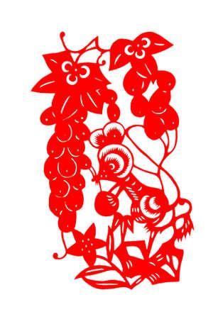 kirigami: Chinese New Year, year of the rat Stock Photo