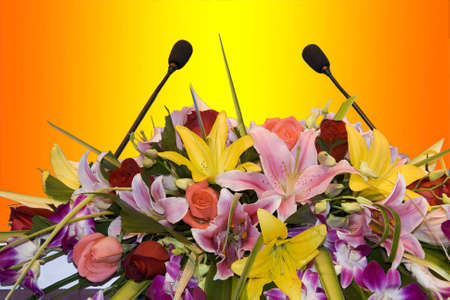 Two microphones on a colorful background  photo