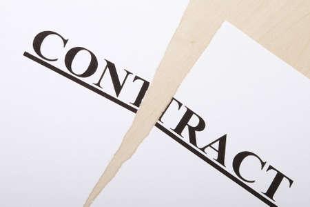 broken contract: Broken contract on the desk Stock Photo