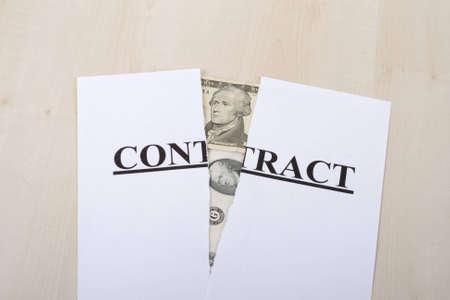 broken contract: Broken contract and money Stock Photo