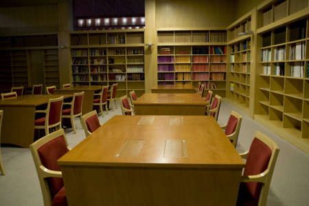 Library with tables and chairs photo