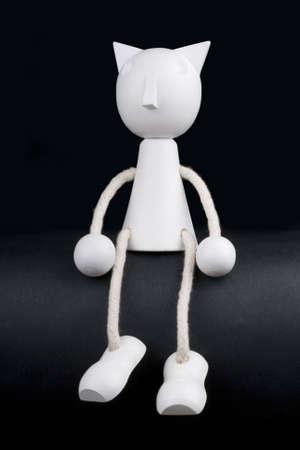 white puppet on black background Stock Photo - 3268043