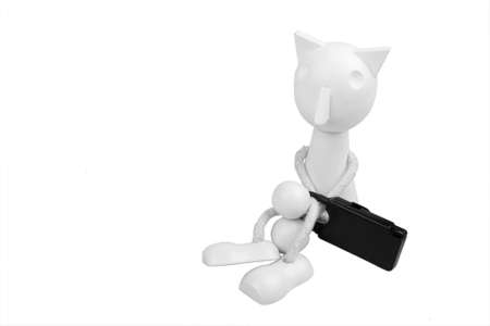 puppet is locked hands and feets on white background photo