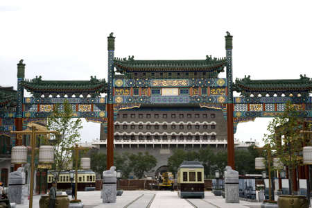 reconstruct oldest Qianmen commercial street in Beijing, China  photo