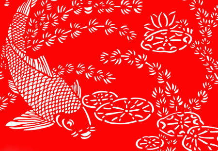 kirigami: The traditional paper-cut fish on the white