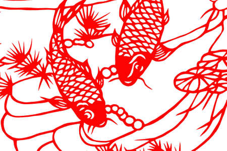 The traditional paper-cut fish on the white Stock Photo - 3454069